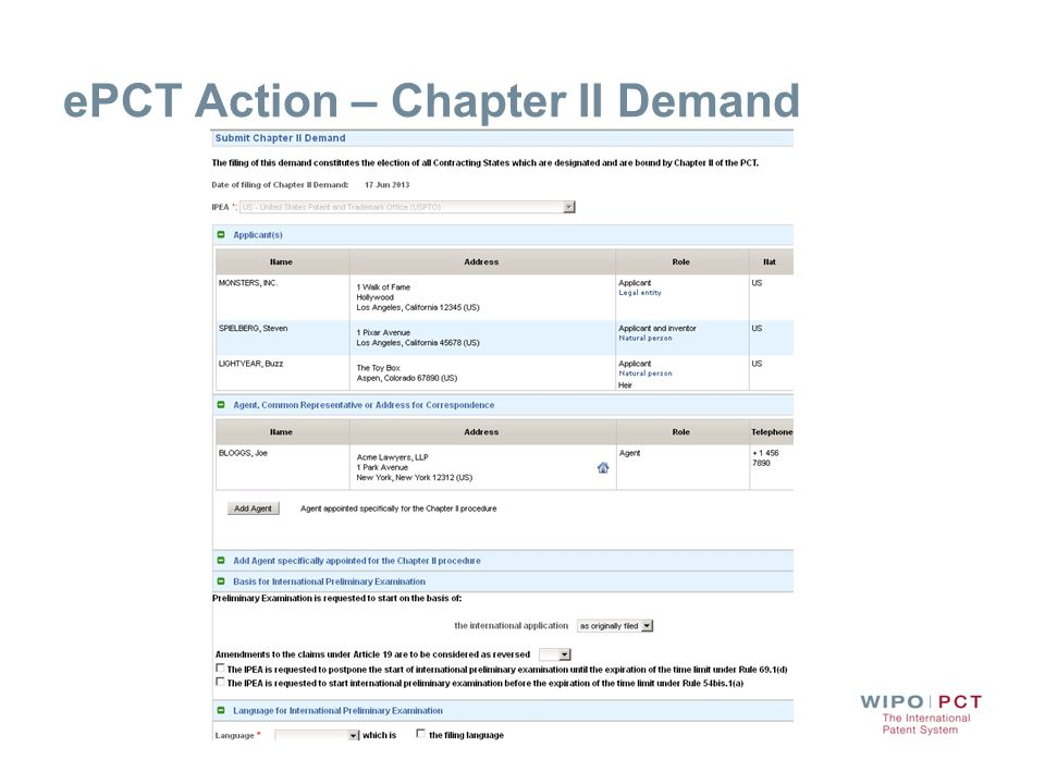 ePCT Action – Chapter II Demand