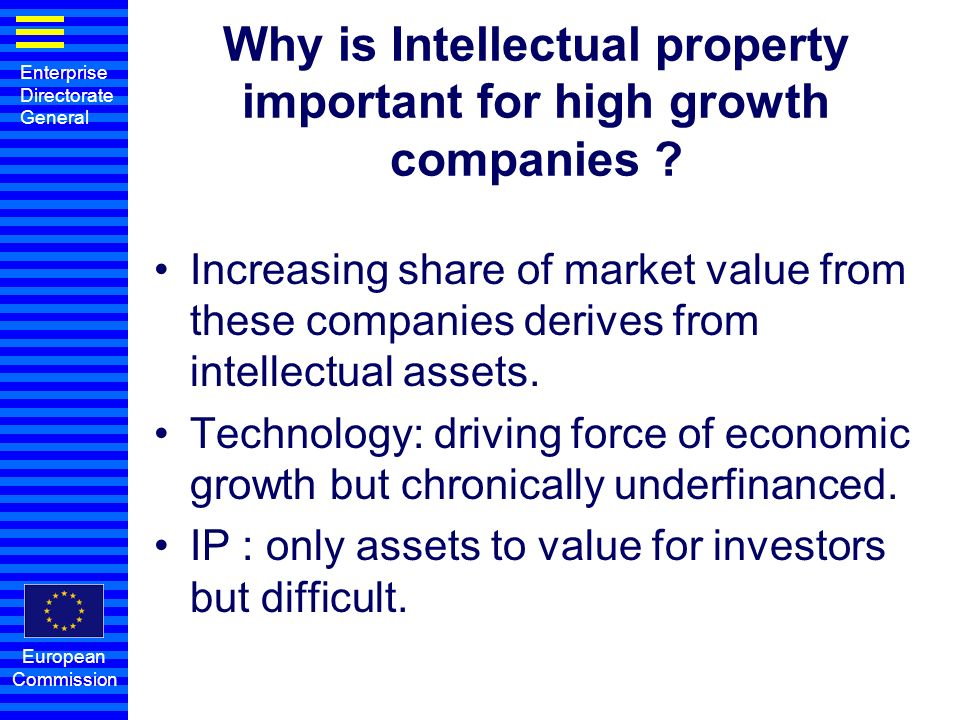 Enterprise Directorate General European Commission Why is Intellectual property important for high growth companies ? Increasing share of market value