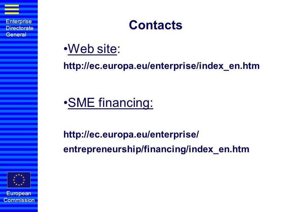 Enterprise Directorate General European Commission Contacts Web site: http://ec.europa.eu/enterprise/index_en.htm SME financing: http://ec.europa.eu/e