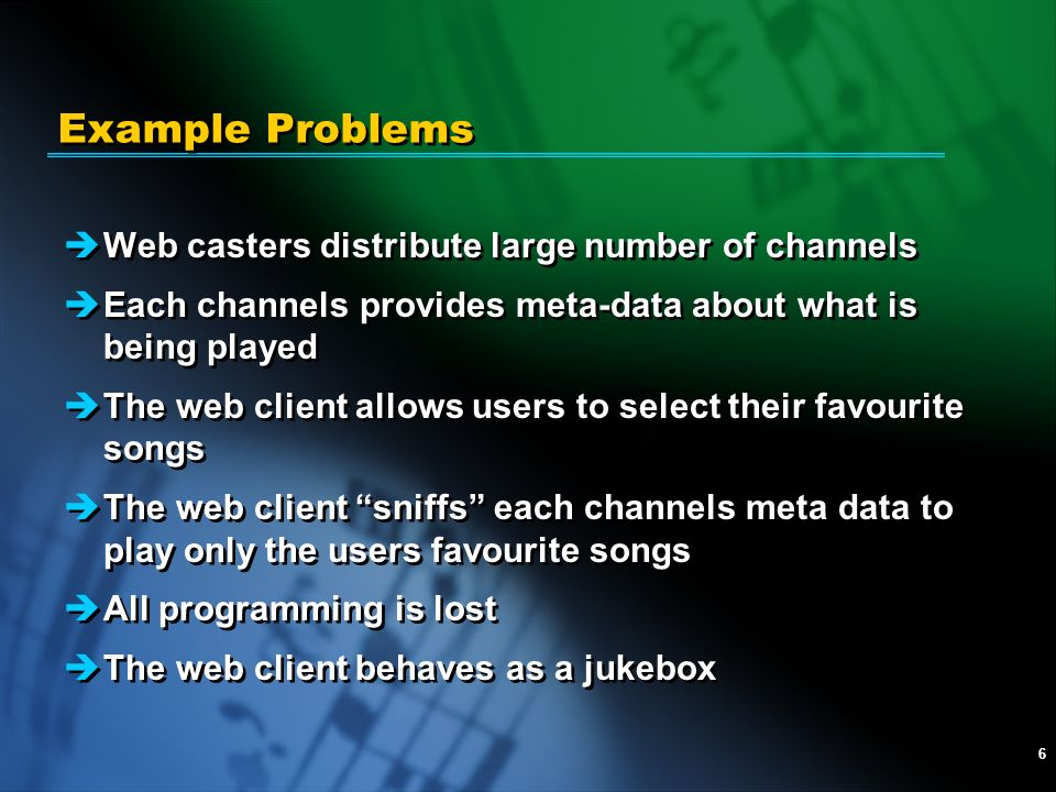 6 Example Problems èWeb casters distribute large number of channels èEach channels provides meta-data about what is being played èThe web client allow