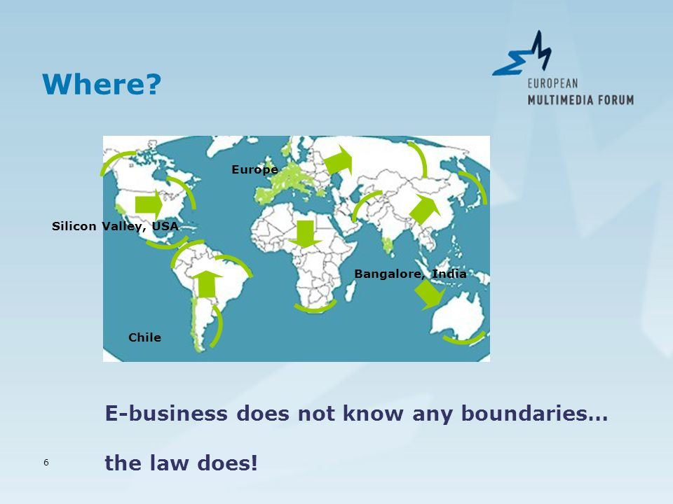 6 Where? Silicon Valley, USA Chile Bangalore, India Europe E-business does not know any boundaries… the law does!