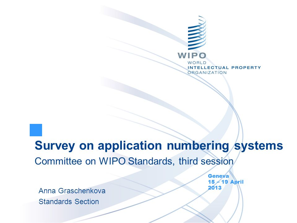 Document CWS/3/10 Survey on application numbering systems Questionnaire approved by CWS/1 Focus on numbering systems currently used by IPOs Circular C.CWS 28 of August 24, 2012 35 IPOs took part in the online survey (66 responses) Survey results: Individual responses and collated results are available in WIPOSTAD Survey summary – Annex to the document CWS/3/10 Presentation of application and priority application numbers - related documents at the CWS/3 page