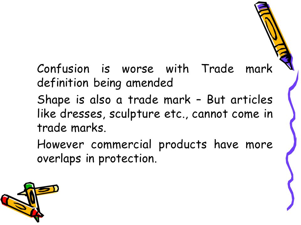 Confusion is worse with Trade mark definition being amended Shape is also a trade mark – But articles like dresses, sculpture etc., cannot come in tra