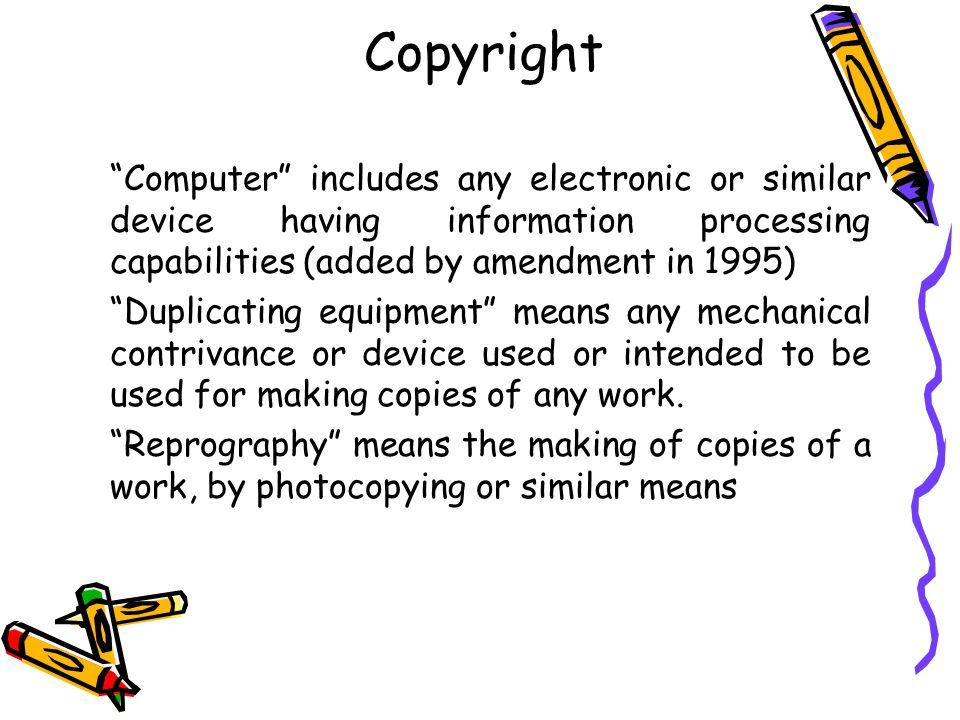 Fair Dealing or Permitted Acts SEC 52(1)(o) : Making a maximum of 3 copies for the use of a public library.
