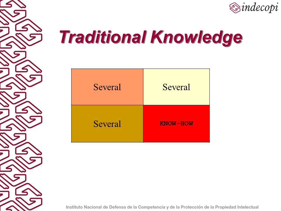 Traditional Knowledge Several KNOW-HOW