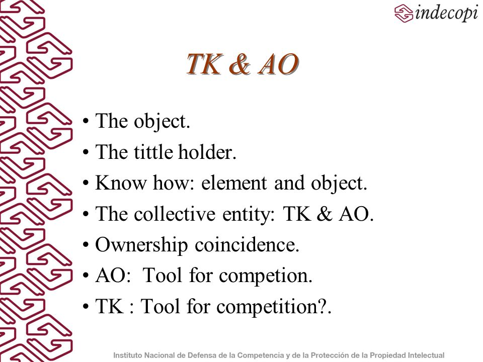 TK & AO The object. The tittle holder. Know how: element and object.