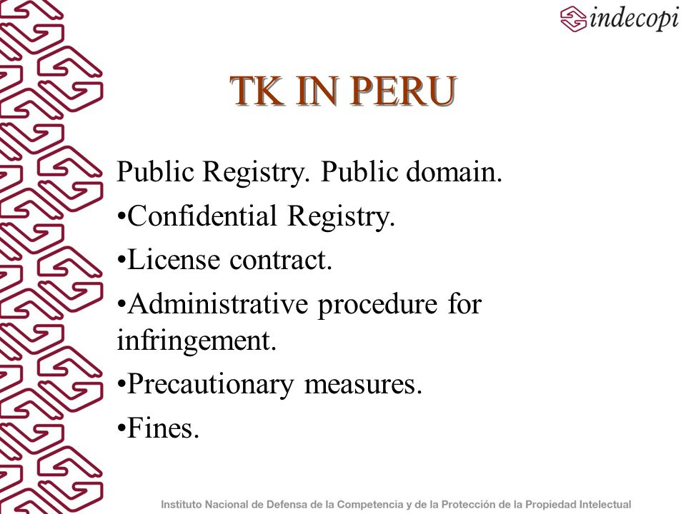 TK IN PERU Public Registry. Public domain. Confidential Registry.