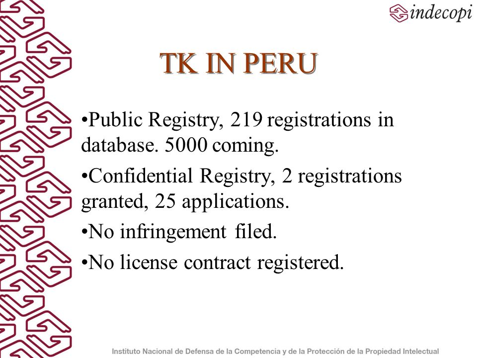 TK IN PERU Public Registry, 219 registrations in database.