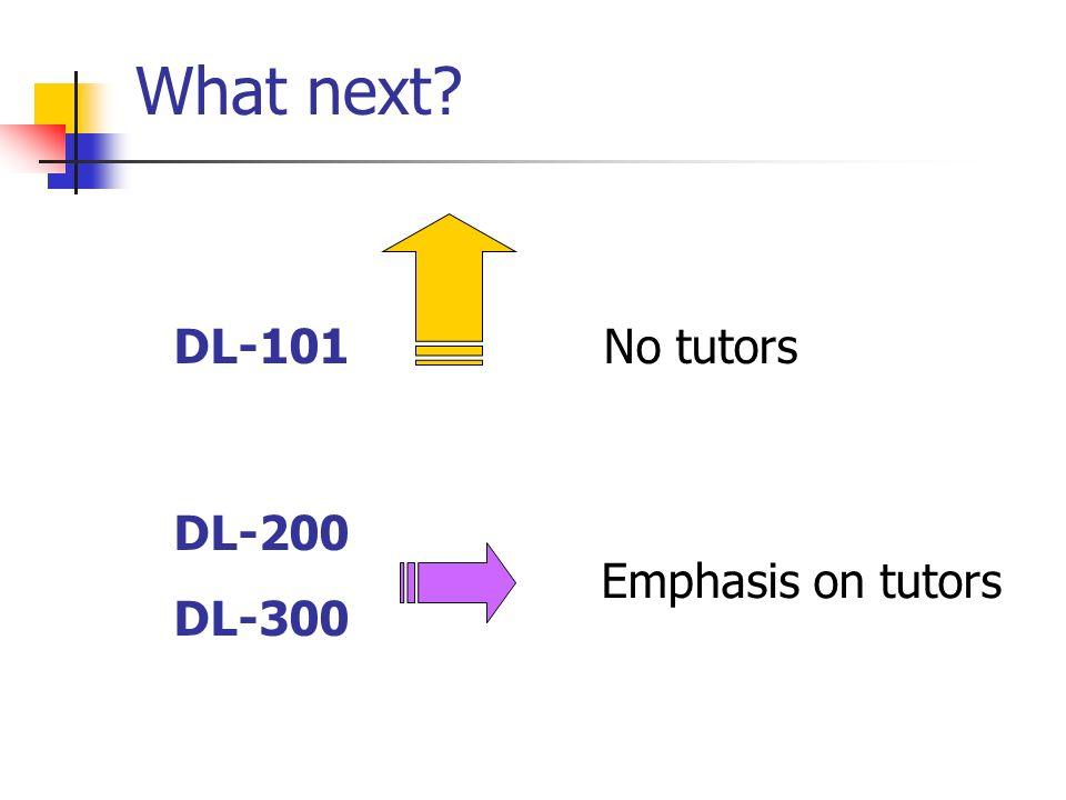 What next? DL-101 DL-200 DL-300 No tutors Emphasis on tutors