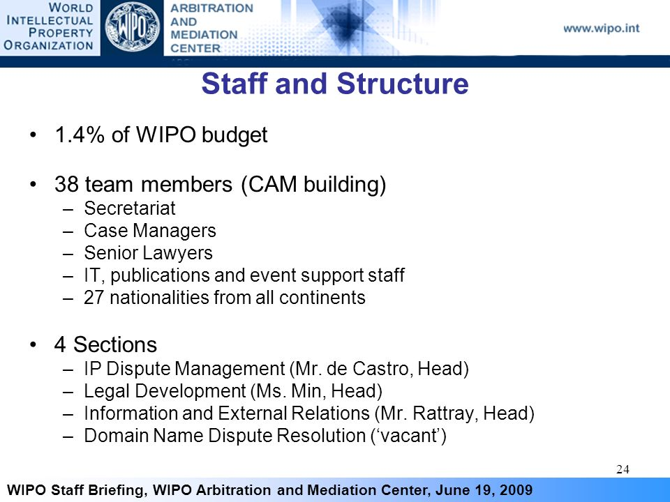 24 WIPO Staff Briefing, WIPO Arbitration and Mediation Center, June 19, 2009 Staff and Structure 1.4% of WIPO budget 38 team members (CAM building) –S
