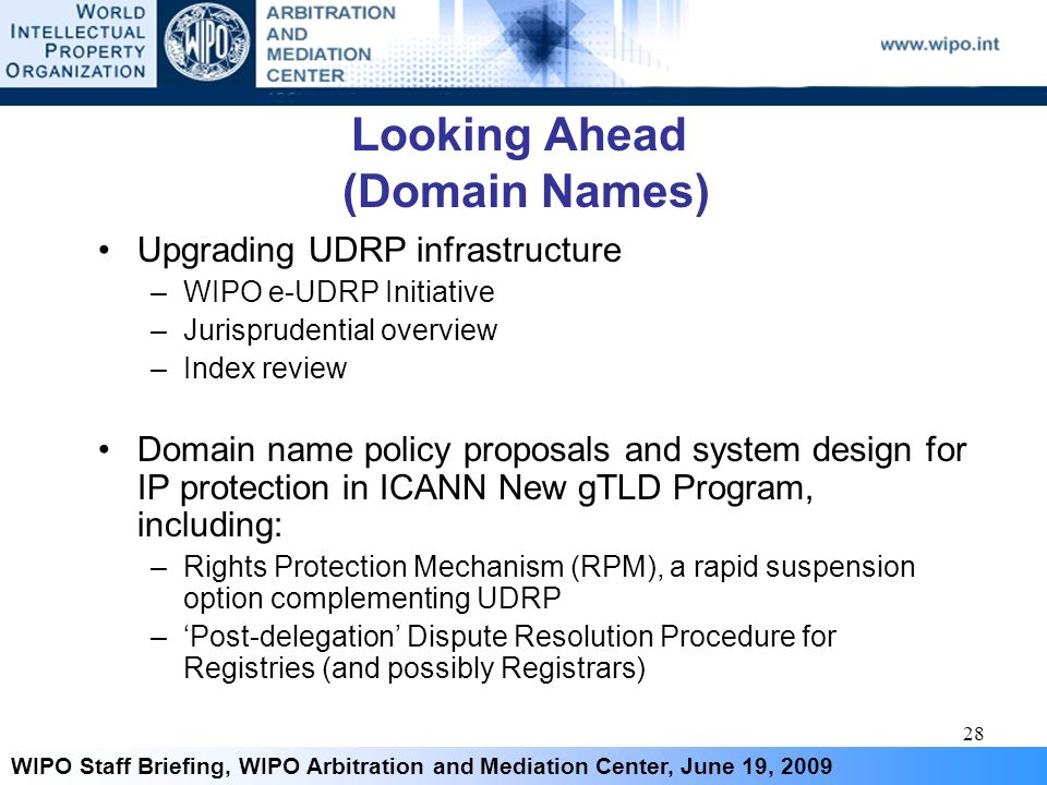 28 WIPO Staff Briefing, WIPO Arbitration and Mediation Center, June 19, 2009 Looking Ahead (Domain Names) Upgrading UDRP infrastructure –WIPO e-UDRP I