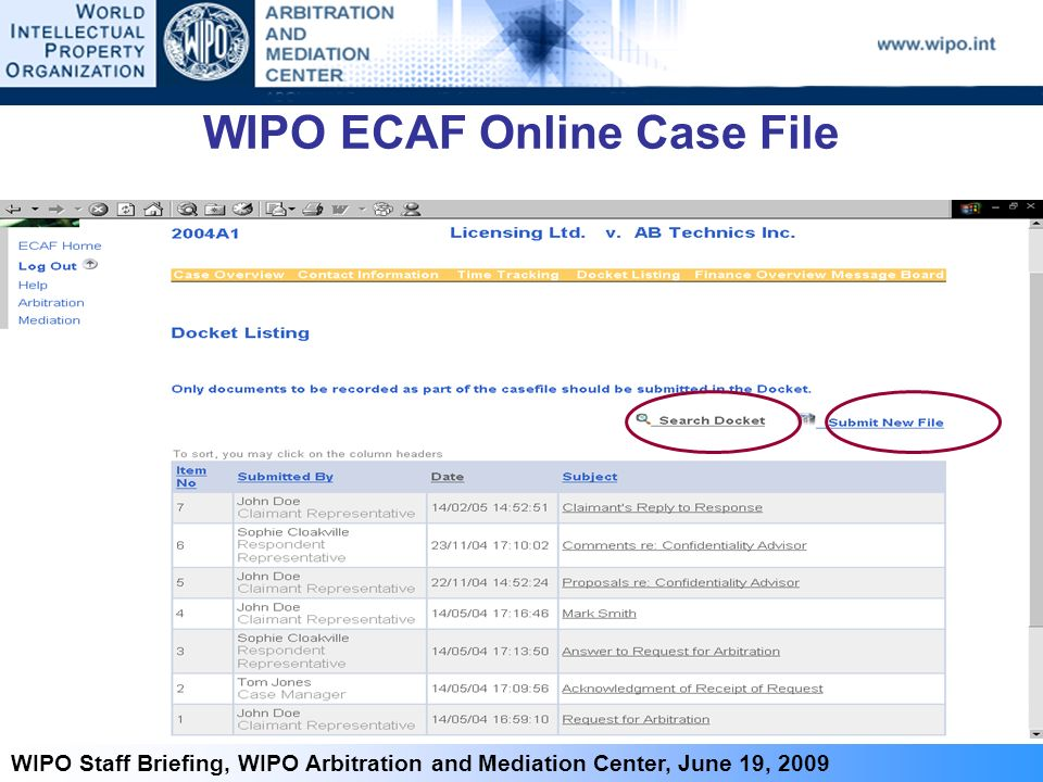 7 WIPO Staff Briefing, WIPO Arbitration and Mediation Center, June 19, 2009 WIPO ECAF Online Case File