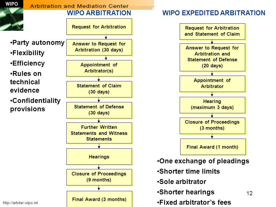 12 WIPO ARBITRATION Request for Arbitration Answer to Request for Arbitration (30 days) Appointment of Arbitrator(s) Statement of Claim (30 days) Stat