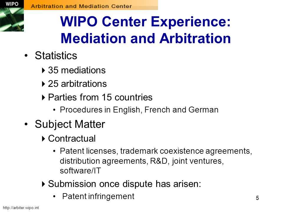 5 WIPO Center Experience: Mediation and Arbitration Statistics 35 mediations 25 arbitrations Parties from 15 countries Procedures in English, French a