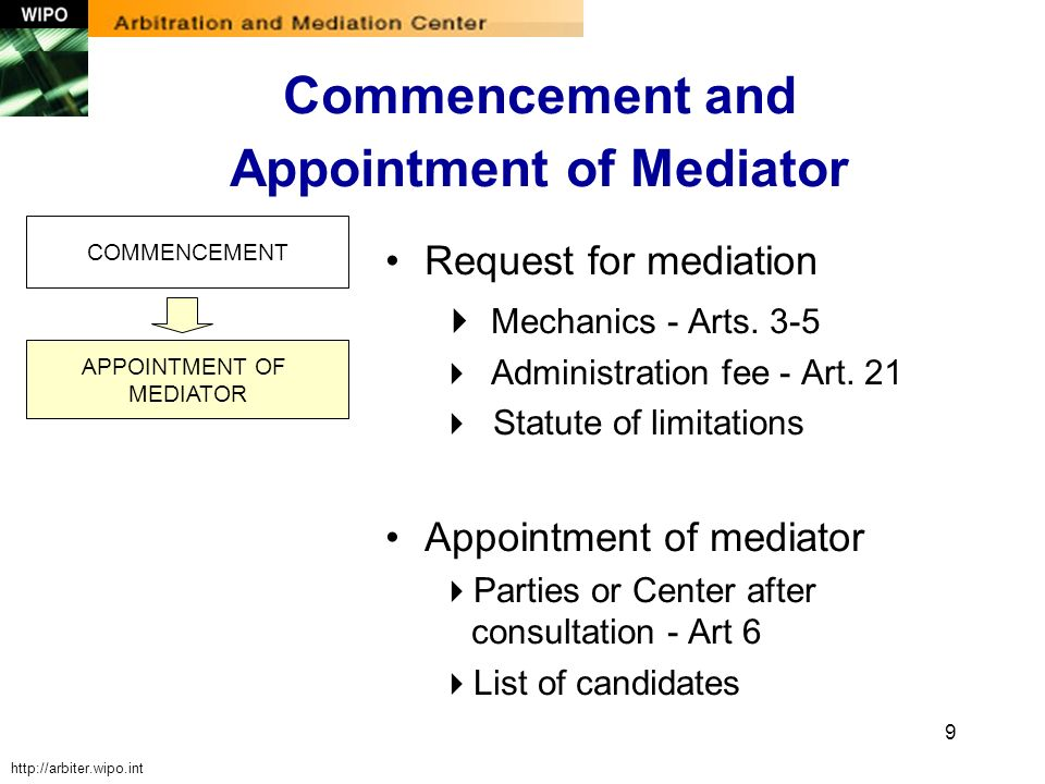 9 COMMENCEMENT APPOINTMENT OF MEDIATOR Request for mediation Mechanics - Arts. 3-5 Administration fee - Art. 21 Statute of limitations Appointment of