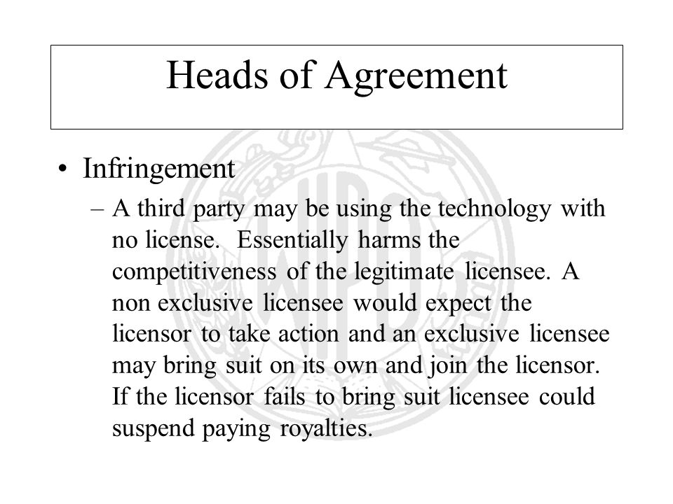 Heads of Agreement Infringement –A third party may be using the technology with no license. Essentially harms the competitiveness of the legitimate li