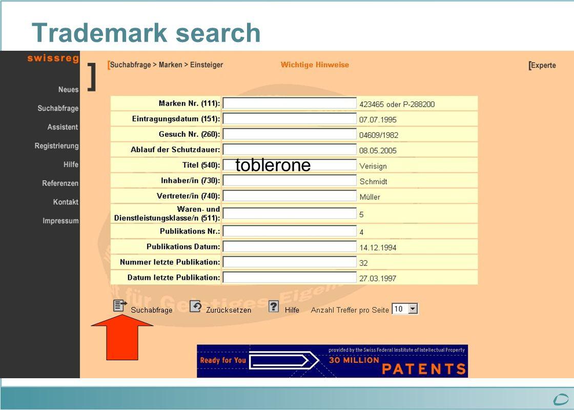 Trademark search toblerone
