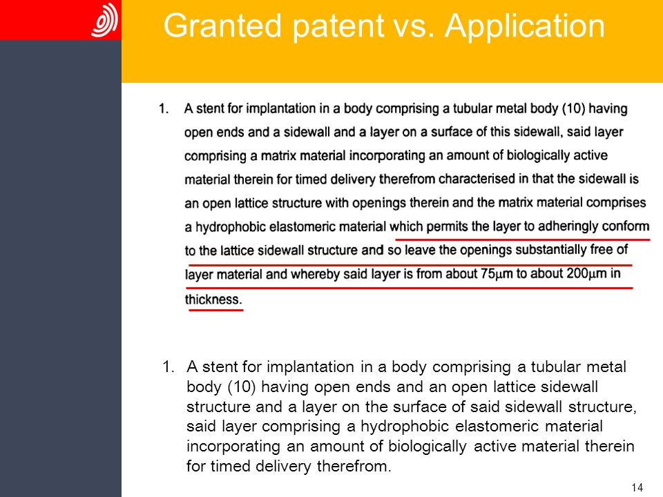 14 Granted patent vs. Application 1.A stent for implantation in a body comprising a tubular metal body (10) having open ends and an open lattice sidew