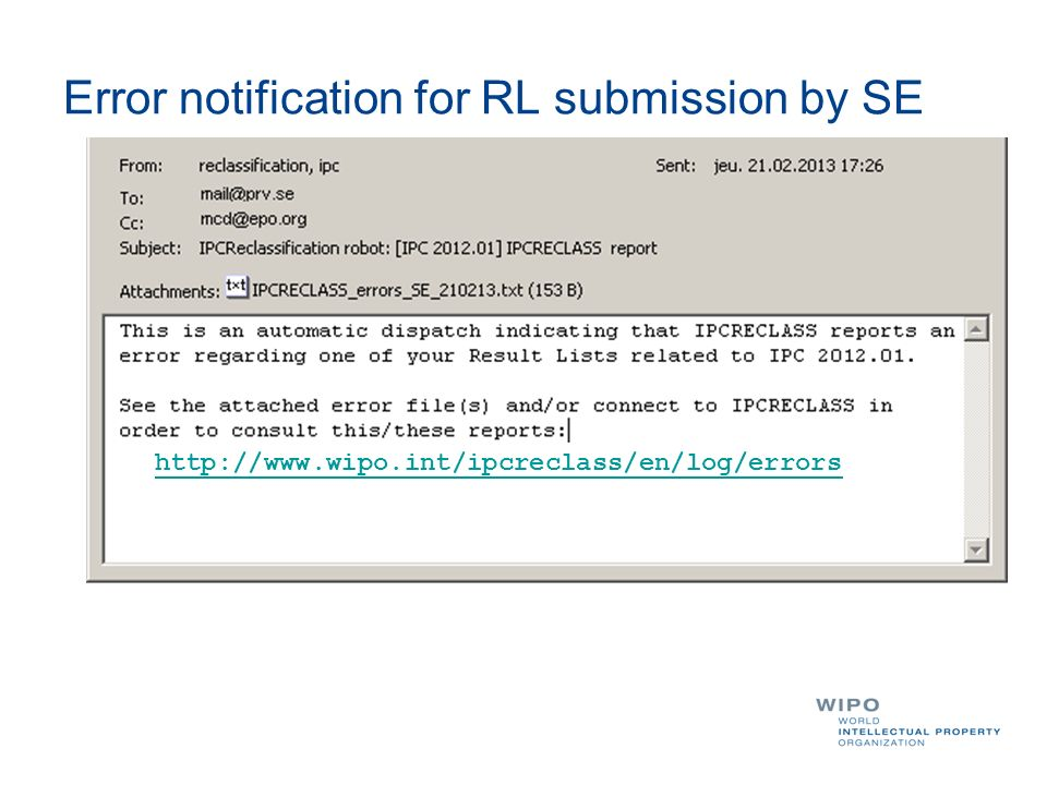 Error notification for RL submission by SE