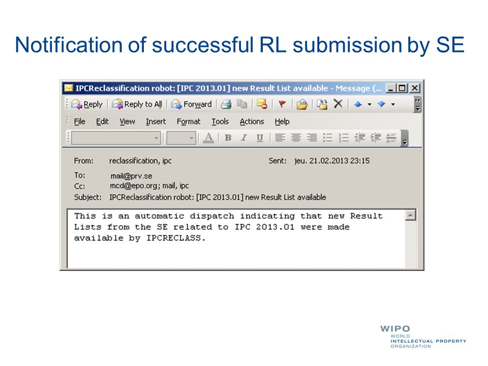 Notification of successful RL submission by SE