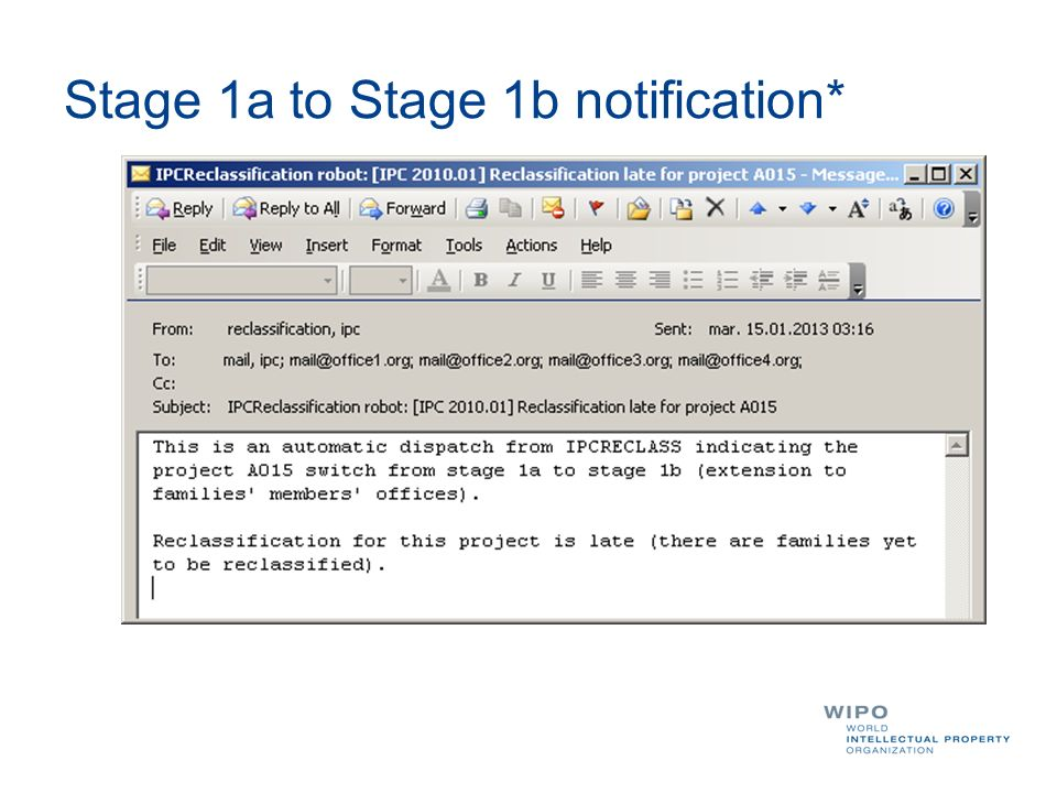 Stage 1a to Stage 1b notification*