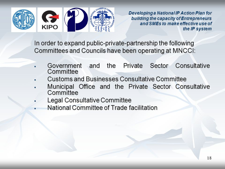 18 Developing a National IP Action Plan for building the capacity of Entrepreneurs and SMEs to make effective use of the IP system In order to expand public-private-partnership the following Committees and Councils have been operating at MNCCI: Government and the Private Sector Consultative Committee Government and the Private Sector Consultative Committee Customs and Businesses Consultative Committee Customs and Businesses Consultative Committee Municipal Office and the Private Sector Consultative Committee Municipal Office and the Private Sector Consultative Committee Legal Consultative Committee Legal Consultative Committee National Committee of Trade facilitation National Committee of Trade facilitation