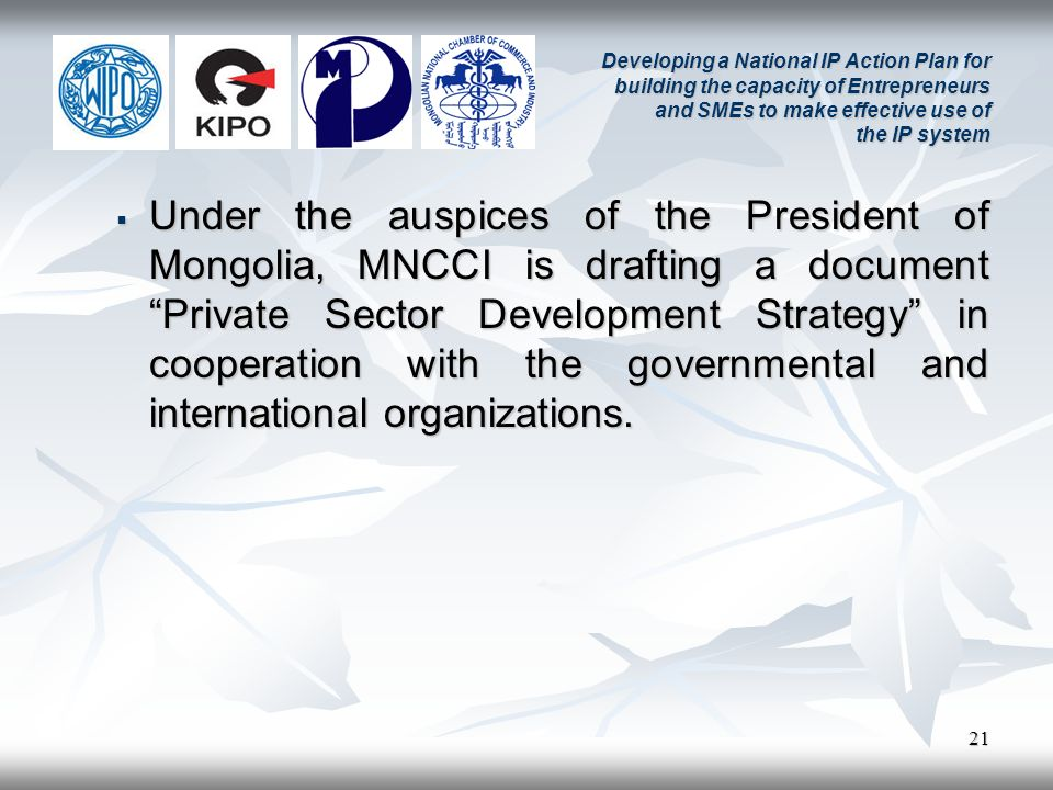21 Developing a National IP Action Plan for building the capacity of Entrepreneurs and SMEs to make effective use of the IP system Under the auspices of the President of Mongolia, MNCCI is drafting a document Private Sector Development Strategy in cooperation with the governmental and international organizations.