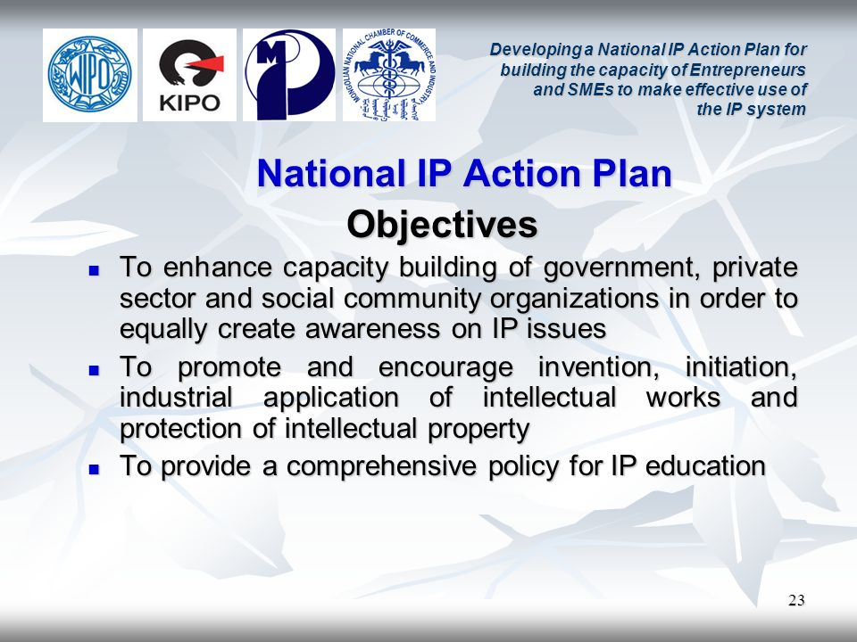 23 Developing a National IP Action Plan for building the capacity of Entrepreneurs and SMEs to make effective use of the IP system National IP Action Plan Objectives To enhance capacity building of government, private sector and social community organizations in order to equally create awareness on IP issues To enhance capacity building of government, private sector and social community organizations in order to equally create awareness on IP issues To promote and encourage invention, initiation, industrial application of intellectual works and protection of intellectual property To promote and encourage invention, initiation, industrial application of intellectual works and protection of intellectual property To provide a comprehensive policy for IP education To provide a comprehensive policy for IP education