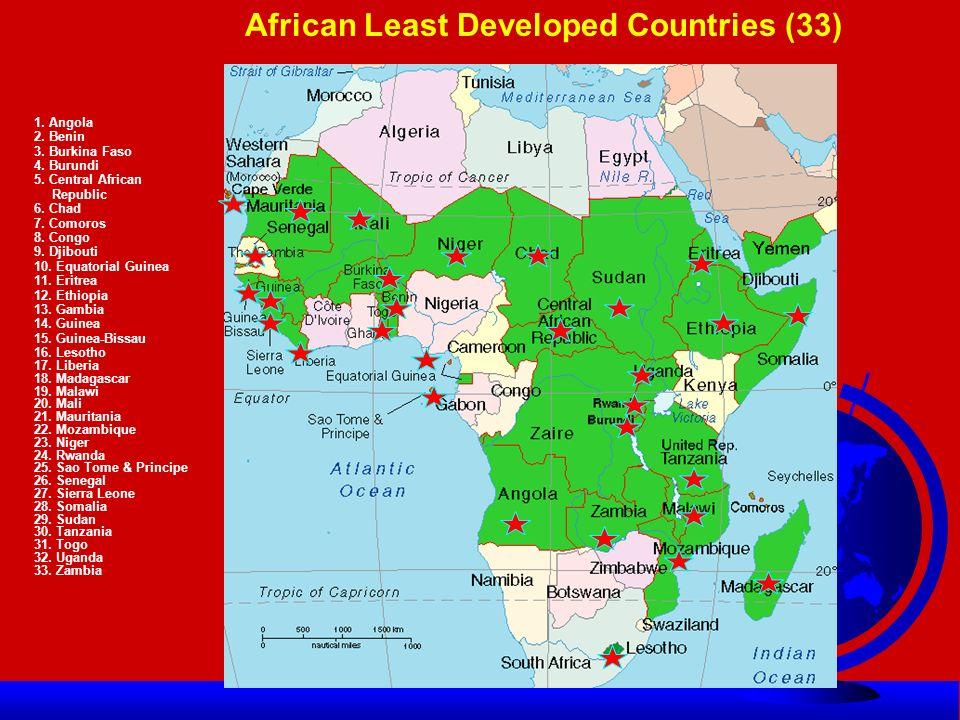 African LDCs 1971-2009 Ÿ The original list African LDCs: Ÿ 1971-Benin, Botswana, Burundi, Chad, Ethiopia, Guinea, Lesotho, Malawi, Mali, Niger, Rwanda, Somalia, Sudan, Uganda, Tanzania, Upper Volta (Burkina Faso) Total=16 Ÿ 1975- Central African Republic, Gambia (18) Ÿ 1977-Cape Verde, Comoros (20) Ÿ 1981-Guinea-Bissau (21) Ÿ 1982-Djibouti, Equatorial Guinea, Sao Tome and Principe, Sierra Leone, Togo (26) Ÿ 1986-Mauritania (27) Ÿ 1988-Mozambique (28) Ÿ 1990-Liberia (29) Ÿ 1991-Madagascar, CDR, Zambia (32) Ÿ 1994-Eritrea, Angola (34) Ÿ (1994-Botswana Graduated) Ÿ 2001 Senegal Ÿ 2008-Cape Verde-graduated, Ÿ Total Africa= 33