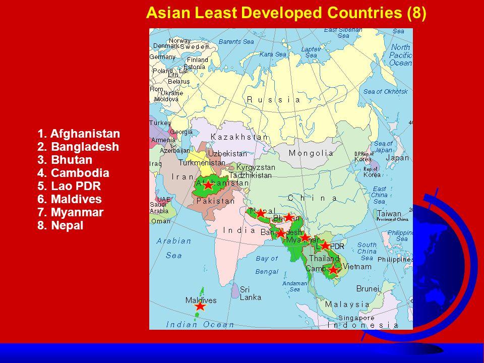 Asia-Pacific LDCs (1971-2009) l1971 Afghanistan, Bhutan, Lao, Nepal, Maldives, Samoa and Yemen.