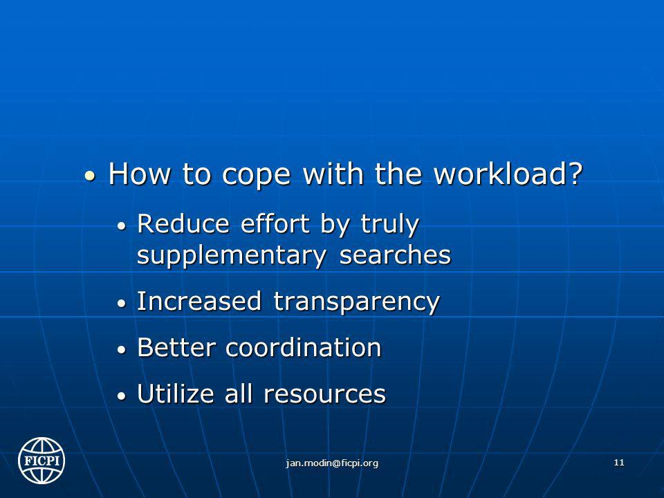 How to cope with the workload. How to cope with the workload.