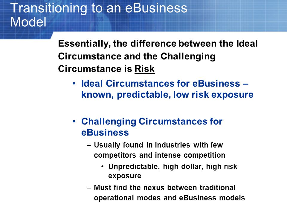 Transitioning to an eBusiness Model Essentially, the difference between the Ideal Circumstance and the Challenging Circumstance is Risk Ideal Circumst