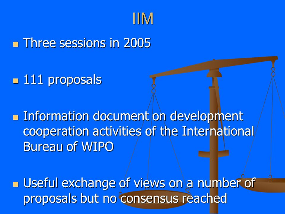 IIM Three sessions in 2005 Three sessions in 2005 111 proposals 111 proposals Information document on development cooperation activities of the International Bureau of WIPO Information document on development cooperation activities of the International Bureau of WIPO Useful exchange of views on a number of proposals but no consensus reached Useful exchange of views on a number of proposals but no consensus reached