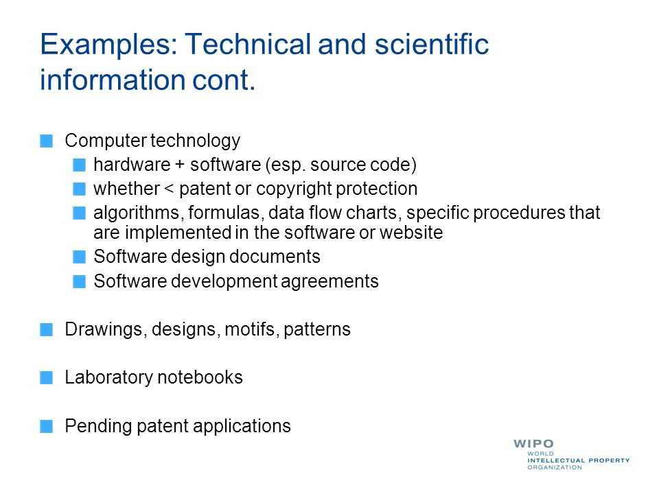 Examples: Technical and scientific information cont.