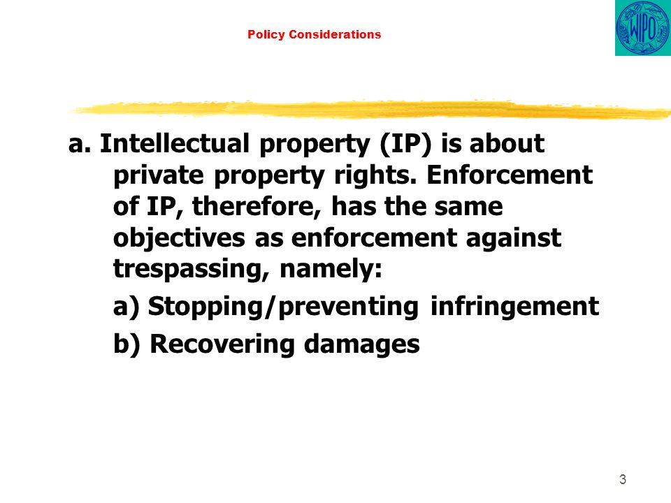 3 Policy Considerations a. Intellectual property (IP) is about private property rights.