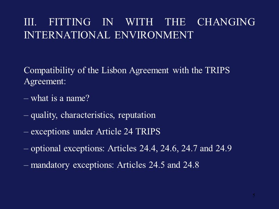 5 III. FITTING IN WITH THE CHANGING INTERNATIONAL ENVIRONMENT Compatibility of the Lisbon Agreement with the TRIPS Agreement: – what is a name? – qual