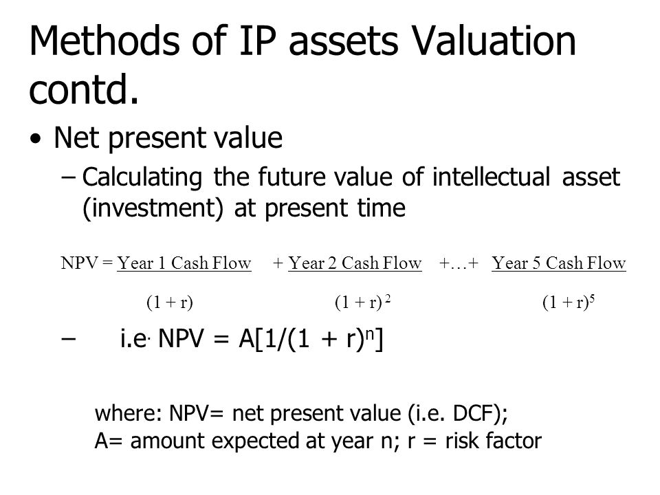 Methods of IP assets Valuation contd.