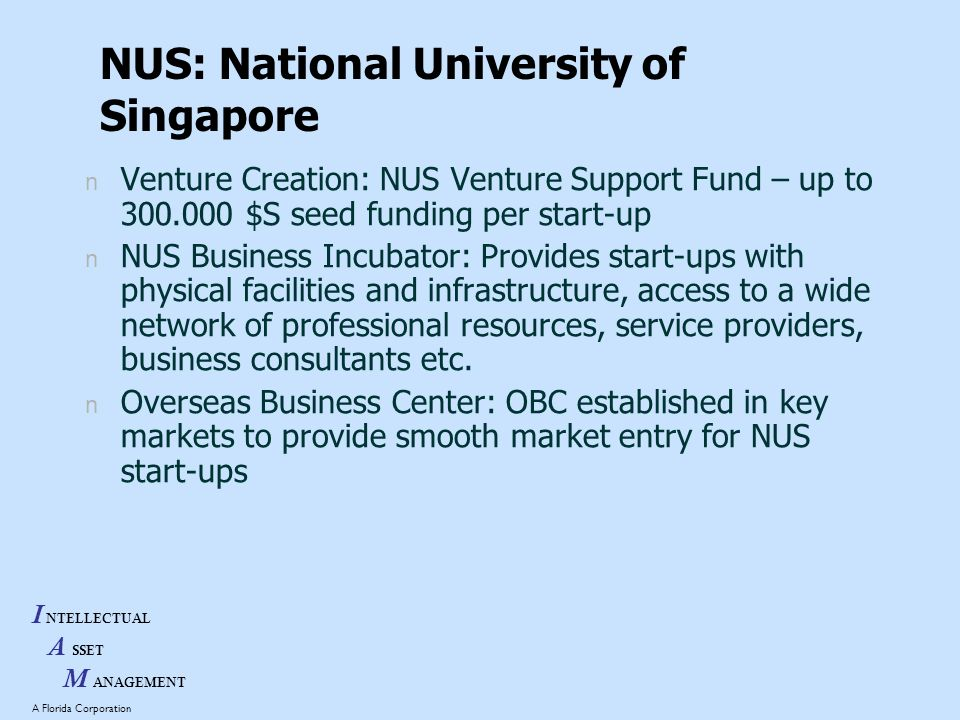 I NTELLECTUAL A SSET M ANAGEMENT A Florida Corporation NUS: National University of Singapore n Venture Creation: NUS Venture Support Fund – up to 300.000 $S seed funding per start-up n NUS Business Incubator: Provides start-ups with physical facilities and infrastructure, access to a wide network of professional resources, service providers, business consultants etc.