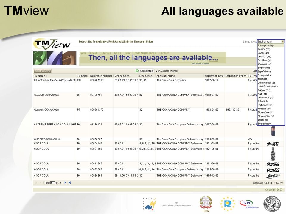 TMview All languages available Then, all the languages are available...