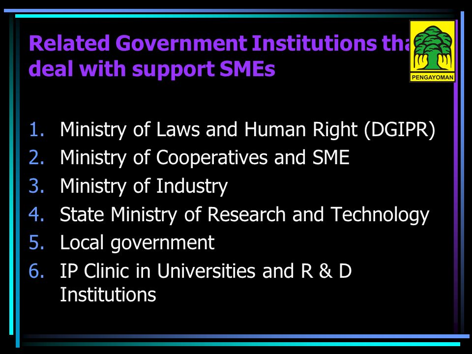 Related Government Institutions that deal with support SMEs 1.Ministry of Laws and Human Right (DGIPR) 2.Ministry of Cooperatives and SME 3.Ministry of Industry 4.State Ministry of Research and Technology 5.Local government 6.IP Clinic in Universities and R & D Institutions
