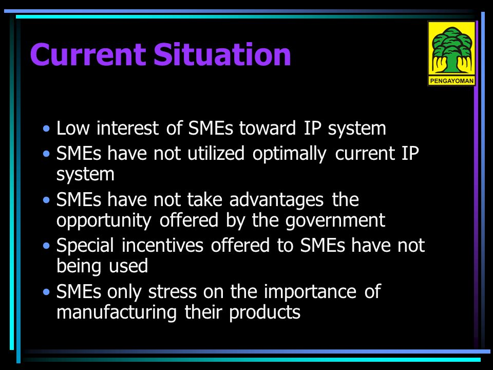 Low interest of SMEs toward IP system SMEs have not utilized optimally current IP system SMEs have not take advantages the opportunity offered by the government Special incentives offered to SMEs have not being used SMEs only stress on the importance of manufacturing their products Current Situation
