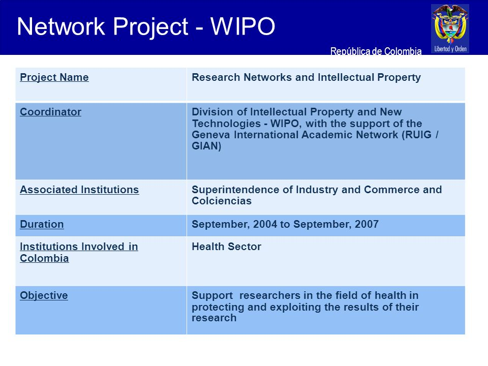 Ministerio de Relaciones Exteriores República de Colombia Project NameResearch Networks and Intellectual Property CoordinatorDivision of Intellectual Property and New Technologies - WIPO, with the support of the Geneva International Academic Network (RUIG / GIAN ) Associated InstitutionsSuperintendence of Industry and Commerce and Colciencias DurationSeptember, 2004 to September, 2007 Institutions Involved in Colombia Health Sector ObjectiveSupport researchers in the field of health in protecting and exploiting the results of their research Network Project - WIPO