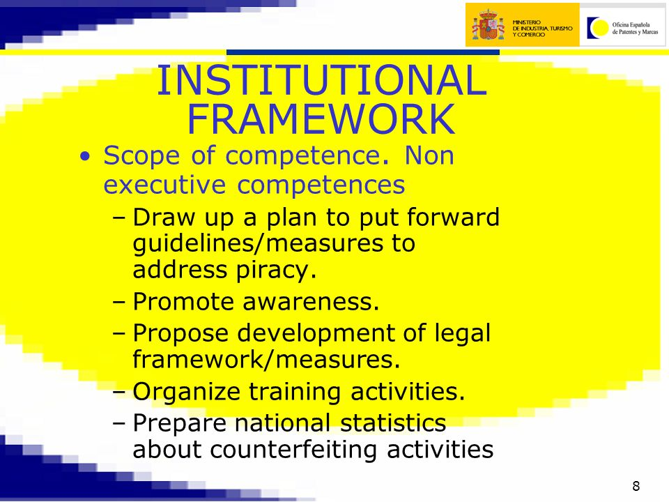 8 INSTITUTIONAL FRAMEWORK Scope of competence.