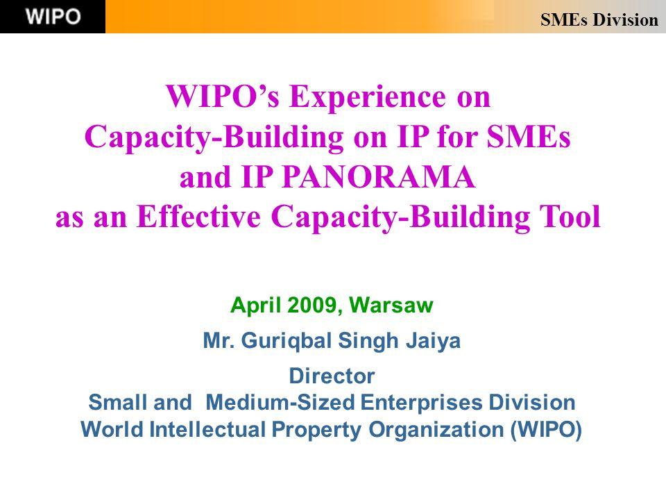 SMEs Division April 2009, Warsaw Mr. Guriqbal Singh Jaiya Director Small and Medium-Sized Enterprises Division World Intellectual Property Organizatio