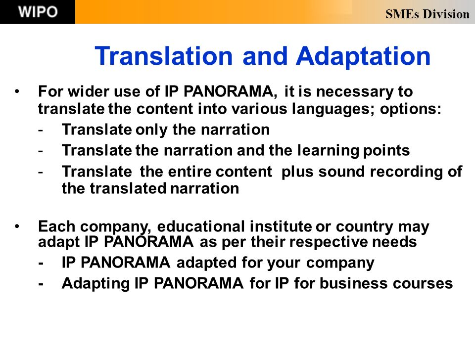 SMEs Division Translation and Adaptation For wider use of IP PANORAMA, it is necessary to translate the content into various languages; options: -Translate only the narration -Translate the narration and the learning points -Translate the entire content plus sound recording of the translated narration Each company, educational institute or country may adapt IP PANORAMA as per their respective needs -IP PANORAMA adapted for your company -Adapting IP PANORAMA for IP for business courses
