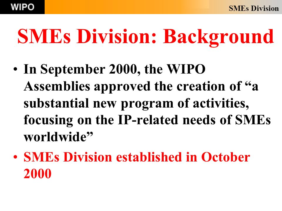 SMEs Division SMEs Division: Background In September 2000, the WIPO Assemblies approved the creation of a substantial new program of activities, focusing on the IP-related needs of SMEs worldwide SMEs Division established in October 2000