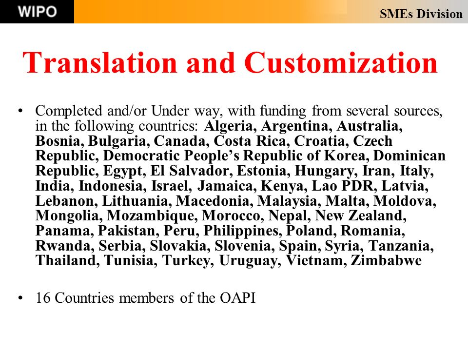SMEs Division Translation and Customization Completed and/or Under way, with funding from several sources, in the following countries: Algeria, Argent