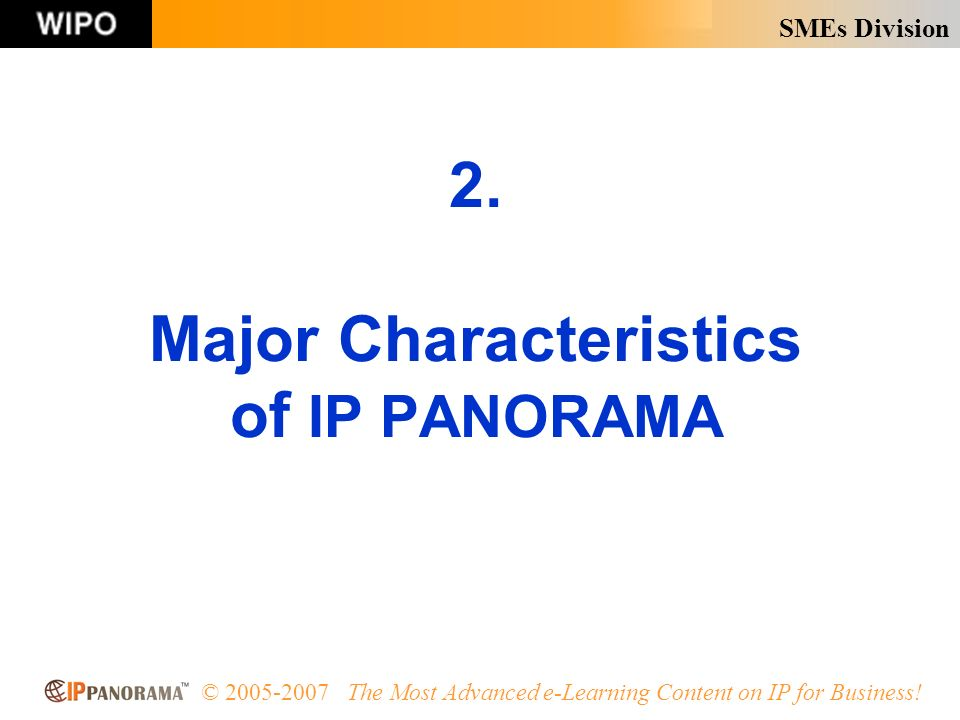 SMEs Division © 2005-2007 The Most Advanced e-Learning Content on IP for Business.