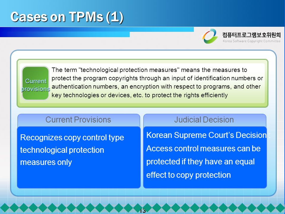 13 Current provisions Current ProvisionsJudicial Decision Korean Supreme Courts Decision : Access control measures can be protected if they have an equal effect to copy protection The term technological protection measures means the measures to protect the program copyrights through an input of identification numbers or authentication numbers, an encryption with respect to programs, and other key technologies or devices, etc.