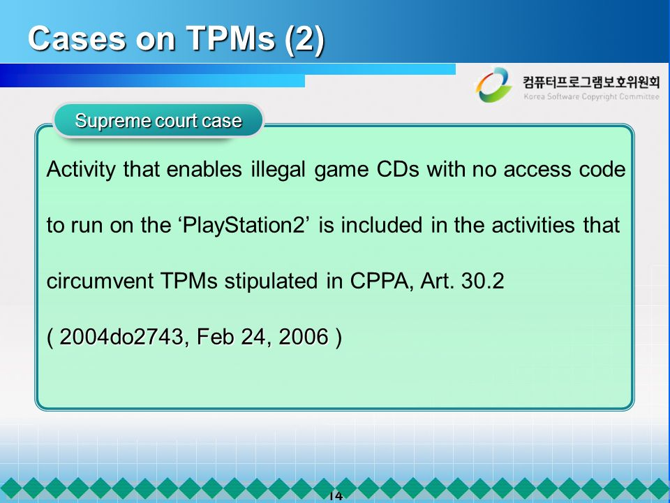 14 Cases on TPMs (2) Supreme court case Activity that enables illegal game CDs with no access code to run on the PlayStation2 is included in the activ